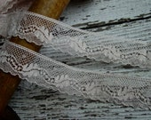 Lovely Pale Peachish Pink Colored Antique French Lace, one yard