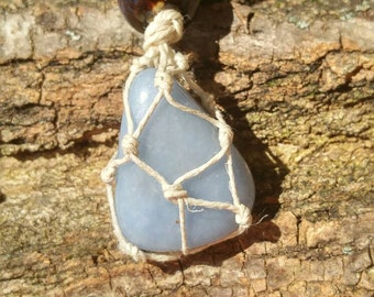 Tumbled Angelite Hemp Necklace