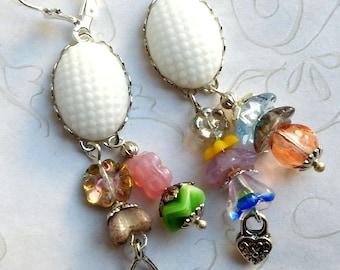 Assemblage Earrings, Confetti Earrings, Vintage Assemblage, Upcycled Earrings, Shabby Chic Earrings