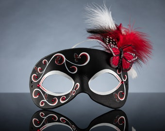 Red Butterfly Leather Masquerade Mask