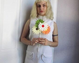 60's Vintage Mod White Pique Mini Dress Cut out sides sm/med.