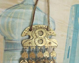 70's Vintage Huge Brass Hippie Necklace Africa