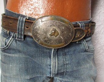 Vintage Sterling Silver Western Belt Rodeo 32 huge buckle