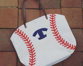 Monogrammed Canvas Baseball Tote