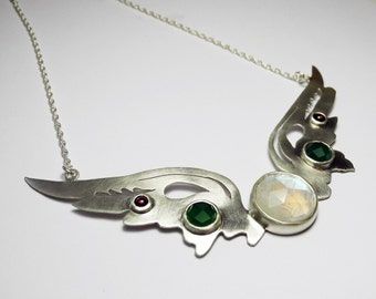 Hermes Wings Pendant with rainbow moonstone