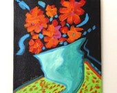 Funky Bold Colors Original Still Life FLOWERS in Vase Painting ~ With Frame or Without ~ Lenora Barks