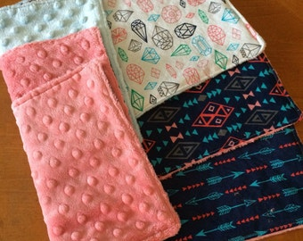 Pink & Blue Minky Baby Burp Cloths