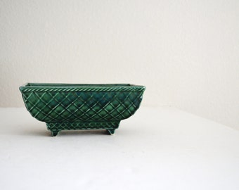 Vintage Dark Green Rectangular Planter -- McCoy 404