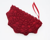 Red Crochet Coin Purse - Christmas Red Coin Purse - Little Red Zippered Pouch - Christmas Stocking Stuffer - Small Favor Gift - Key Storage
