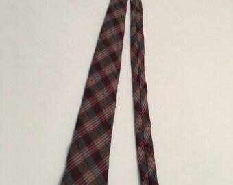 Vintage 1960's Tie, Men's Wool Plaid Tie