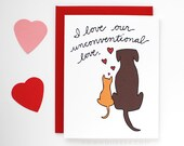 Valentine's Day Card - Sweet Valentine Card - Unconventional Love - I Love You Card