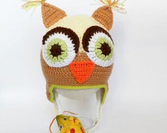 Discount - Owl Baby Hat, Crochet Baby Hat, Baby Owl Hat, Hat With Earflaps, Winter Hat, READY TO SHIP