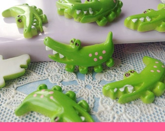 5pcs diy polka dots green crocodile resin cabochon 27x16mm flatback