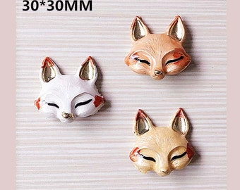 2pcs diy alloy fox head 30x30mm for diy hairpin accessories mix colors
