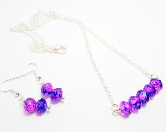 Necklace and Earring Set Rondelle Necklace Purple Dark Blue and Pink Rondelles Gift Set for Her Silver Plate Chain 24 Inch