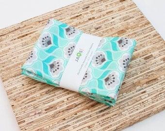 Large Cloth Napkins - Set of 4 - (N4488) - Mint Aqua Posies Floral Flower Modern Reusable Fabric Napkins