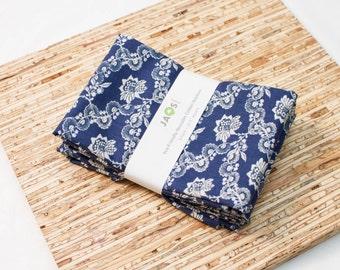 Large Cloth Napkins - Set of 4 - (N3478) - Lace Flower Navy Modern Reusable Fabric Napkins