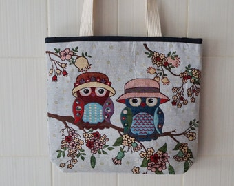 Owl Design Grocery Bag - Large Canvas Tote Bag - Woman Canvas Shopping Tote - Owl Market Bag - Owl Shopping Bag