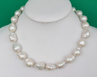 Large Nucleated Baroque White Freshwater Pearl Necklace