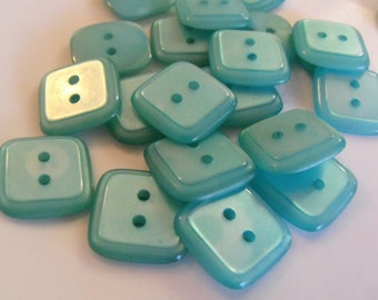 """10 Teal Shiny Medium Square Buttons Size 3/4"""""""