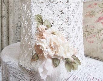 shabby chic white lace lamp shade pink rose boudoir lamp shade romantic bedroom decor