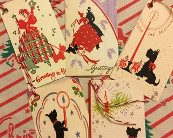 20% OFF Vintage Scotty Dog handcrafted Christmas gift tags