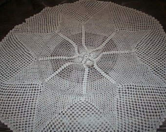 Vintage Hand Crocheted Table Cloth- 56 inch
