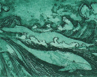 whale and woman limited edition dream etching in green