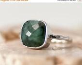 SALE - Raw Emerald Ring Silver - May Birthstone Ring - Solitaire Ring -  Gemstone Ring - Stacking Ring - Sterling Silver Ring - Cushion Cut