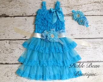 Rustic Baby Girl Dresses, Turquoise Ivory Baby Dress, Sash Belt Headband, Party Dress, Kids Wedding Dress, Flower Girl Dress, Cowgirl Dress