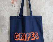 """Navy cotton """"Cripes"""" Tote with neon print"""