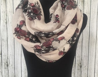 skull roses infinity scarf loop scarf eternity scarf summer scarf lightweight scarf
