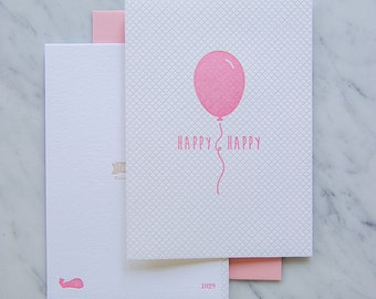 Pink Party Balloon Letterpress Card, Birthday cards