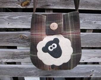 Sheep crossbody bag, wool totebag, sheep purse