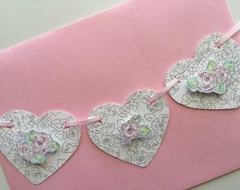 Greeting Card, Heart Garland, Roses, Garden, Love, Glass Glitter, Hand Painted, Art