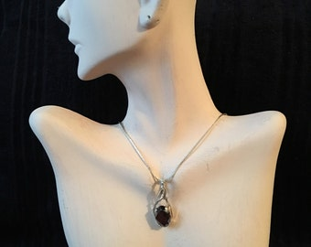 Wire Wrapped Amethyst Crystal Stone in Sterling Silver