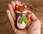 Red Fox Christmas Ornament, felt fox, woodland Nursery Decor, fall, Autumn, winter decoration, Hand stitched, rust, Burnt Orange, Rustic