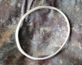 Small Silver Hammered Organic Shape Bangle - Inspired by Henry Moore - Women's medium bangle or Men's small bangle