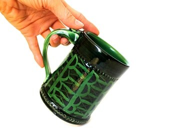 Pottery Coffee Mug, Pottery Tea Mug in green and black by RiverStone Pottery