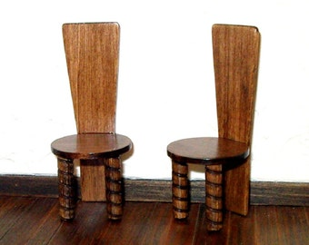 Rustic High Back Chairs, Set of 2, Medieval Dollhouse Miniatures, 1/12 Scale Size, Hand Made
