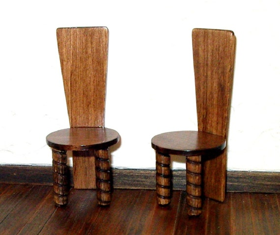 Rustic High Back Chairs Set Of 2 Medieval Dollhouse