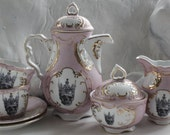Skull Crown Tea Set, Pink (or Blue) & Gold Customized, Skull Skeleton, Halloween Teacups, Sugar, Creamer, Design Your Own Goth Tea Party