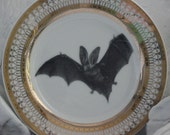 Gold or Silver Bat Plate, Halloween Plate, Halloween Dish, Halloween China, Bat Dish, Bat China, CUSTOMIZABLE with Any Design