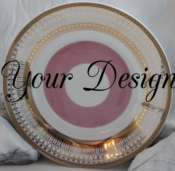 Customizable Pink u0026 Gold Plates Gold Dinnerware Bespoke Dishes Personalized Plates Monogrammed & Customizable Pink u0026 Gold Plates Gold Dinnerware Bespoke