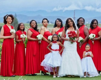 Red summer bridesmaid dresses