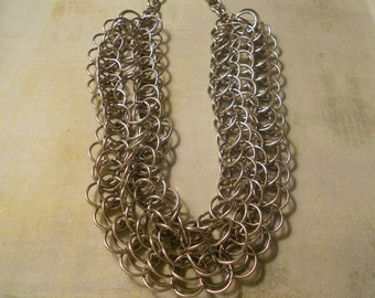 Chain Link Necklace ~ Seven Rows of Chainmaille Circles for Smashing Statement Look