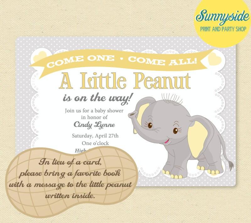 elephant little peanut baby shower by sunnysideprintparty on etsy