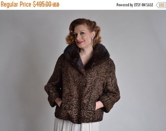 ON SALE Vintage 1950s Schiaparelli Fur Coat - Chocolate Broadtail Mink Collar - Bridal Fashions