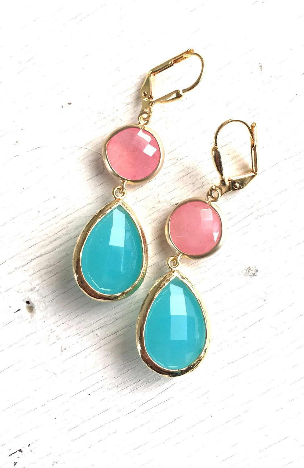 coral pink and turquoise stone dangle earrings in gold. Black Bedroom Furniture Sets. Home Design Ideas