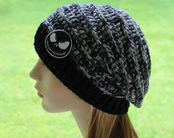 Jack Skellington Beanie - Slouchy Hat - Women's Hats - Toque - Ladies Hats - Gray Slouchy - Nightmare Before Christmas Slouchy
